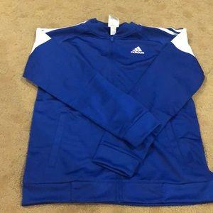 Adidas zipup sweatshirt royal blue w/white stripes